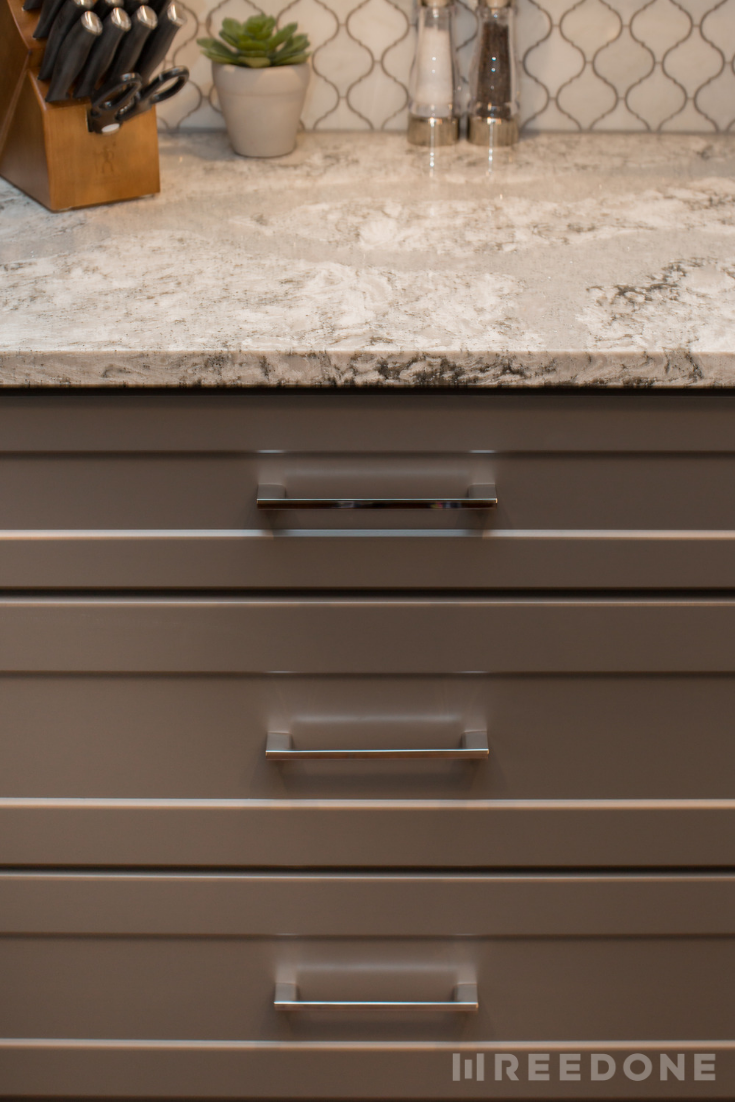 Cambria Summerhill Quartz Countertops Chrome Cabinet Hardware