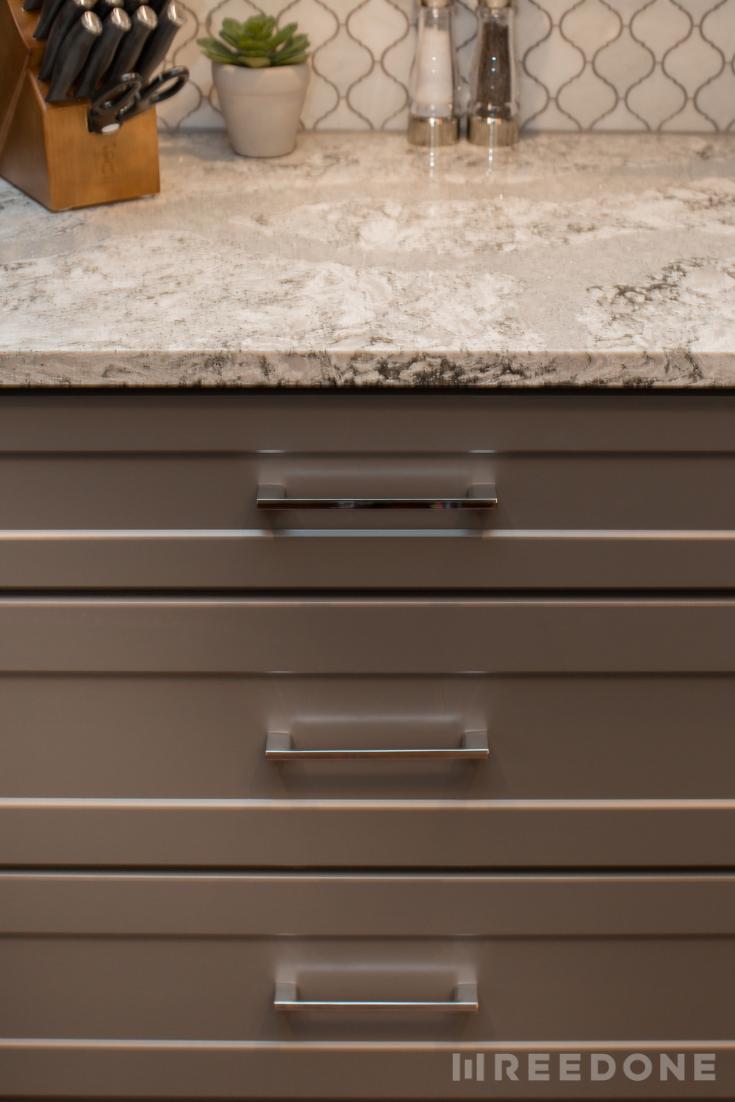 Cambria Summerhill Quartz Countertops Chrome Cabinet Hardware
