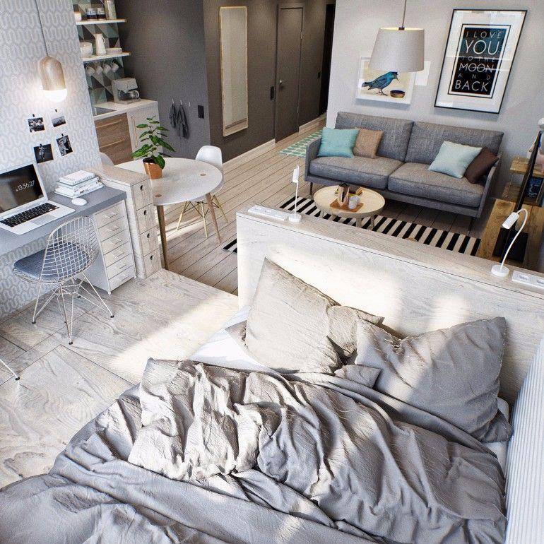 Tiny studio bedroom design | www.masterbedroomideas.eu #tinybedroom #studiobedroom #smallbedroomdecor #smallbedroom #bedroomideas