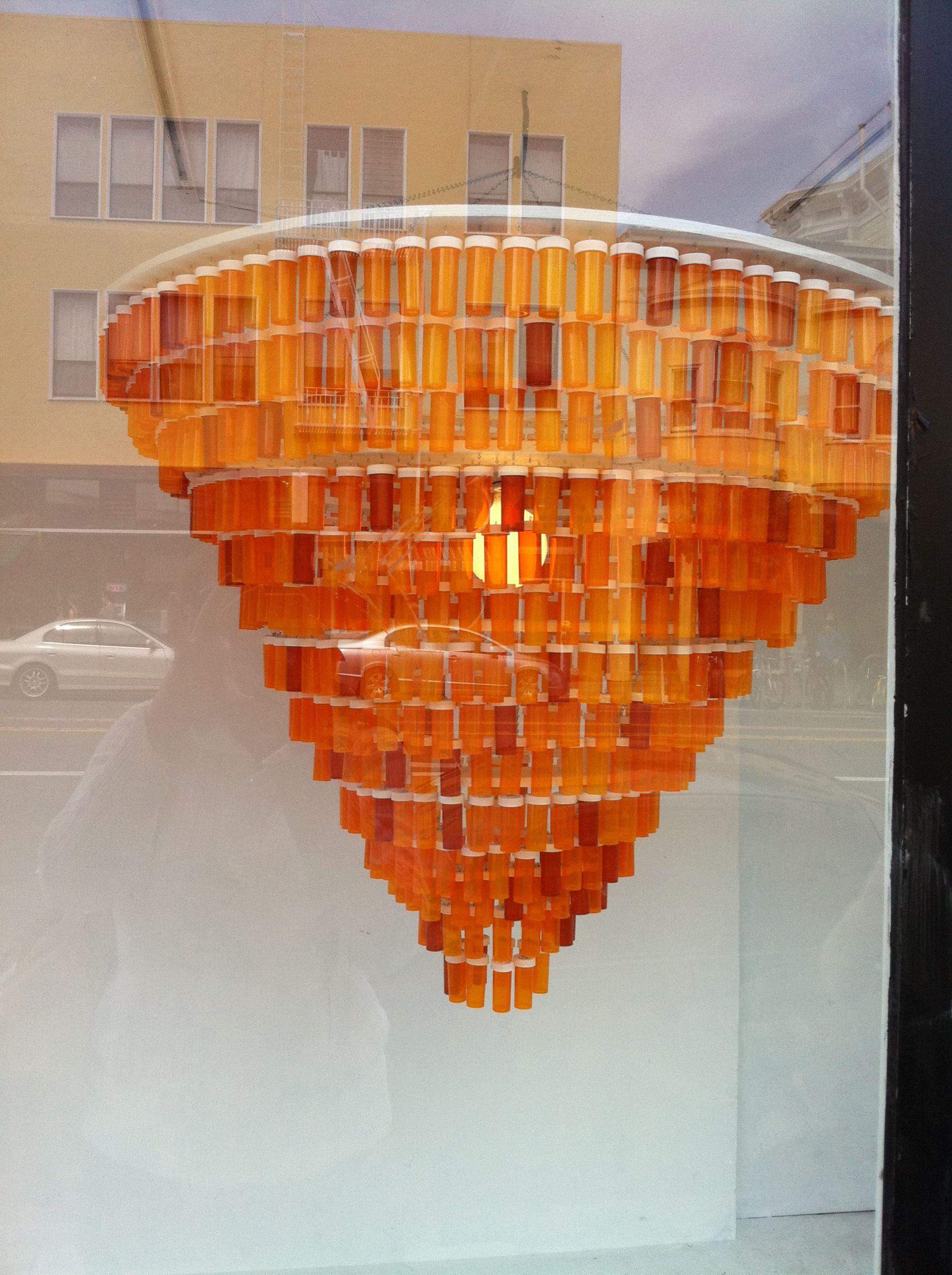Cool chandelier prescription bottles bottle and repurposed cool chandelier arubaitofo Images