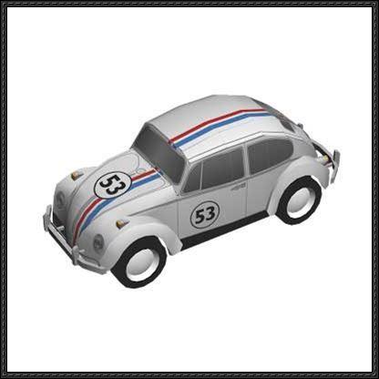 Herbie Volkswagen Beetle Paper Car Free Paper Model Download Free Paper Models Paper Models Paper Model Car