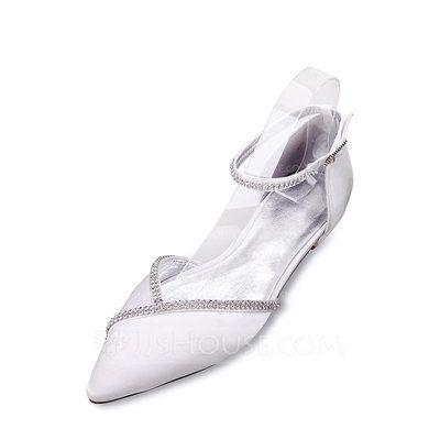 2dc2778a998  US  48.00  Women s Silk Like Satin Low Heel Closed Toe Flats Sandals With  Buckle Rhinestone Chain (047133532)