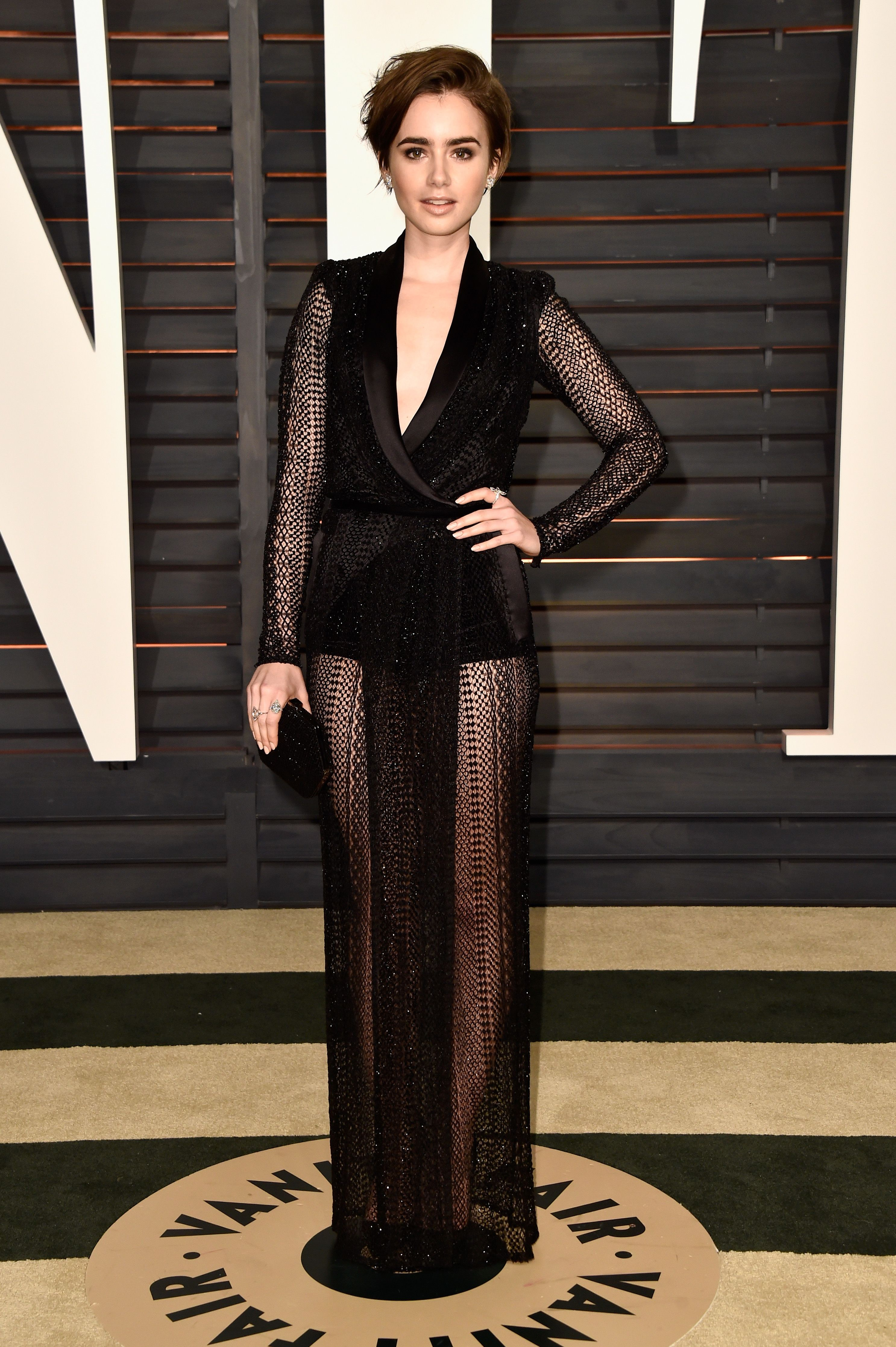 Lily Collins 2015 Oscars Vanity Fair Party