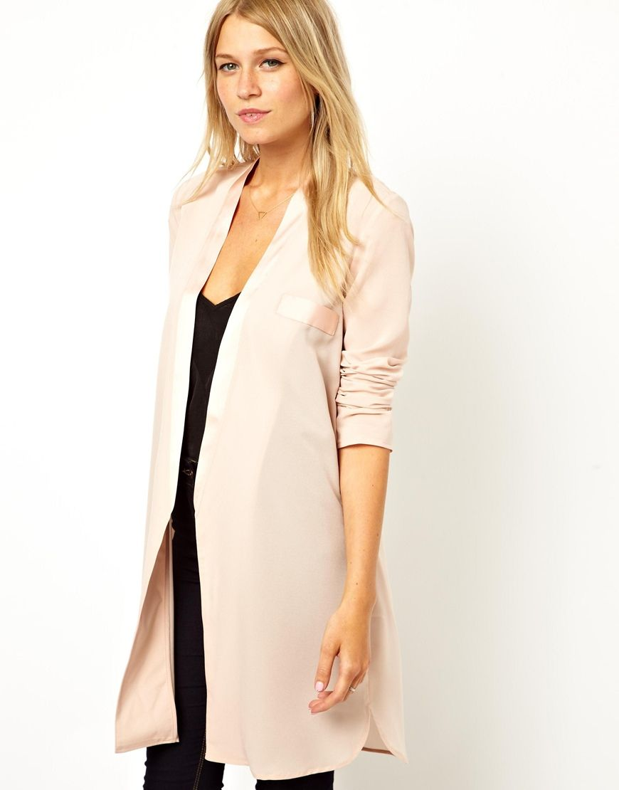 ASOS Blazer in Longline with Satin Lapel