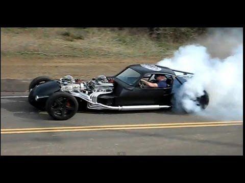 V16 HOT ROD (Twin V8) doing a burnout, part 2   ODD TRUCKS