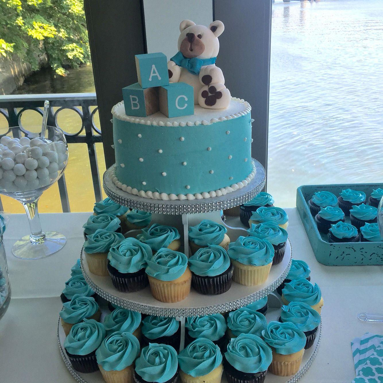 Teddy Bear Tiffany Blue Baby Shower Cupcake And Cake