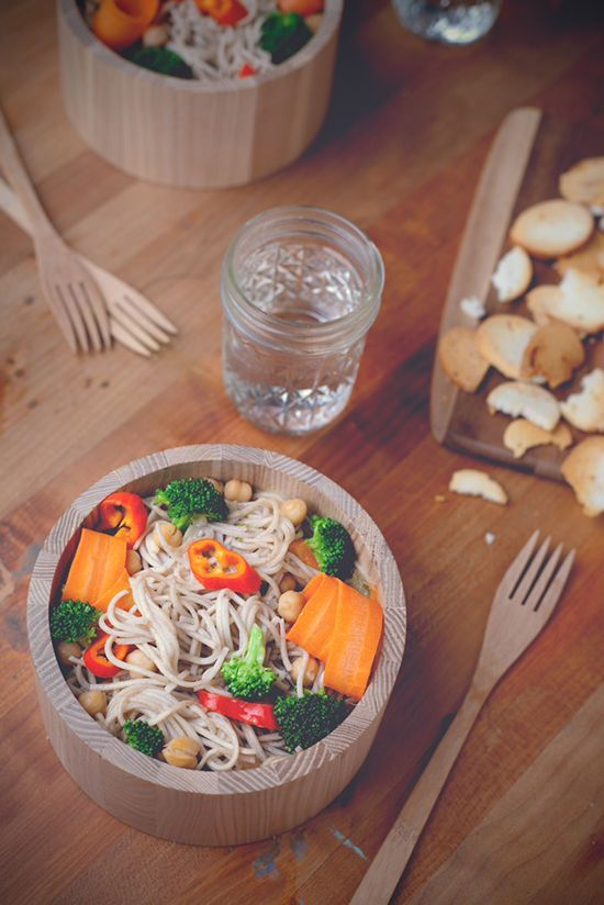Soba Noodle Bowl with Chickpeas + Roasted Broccoli.