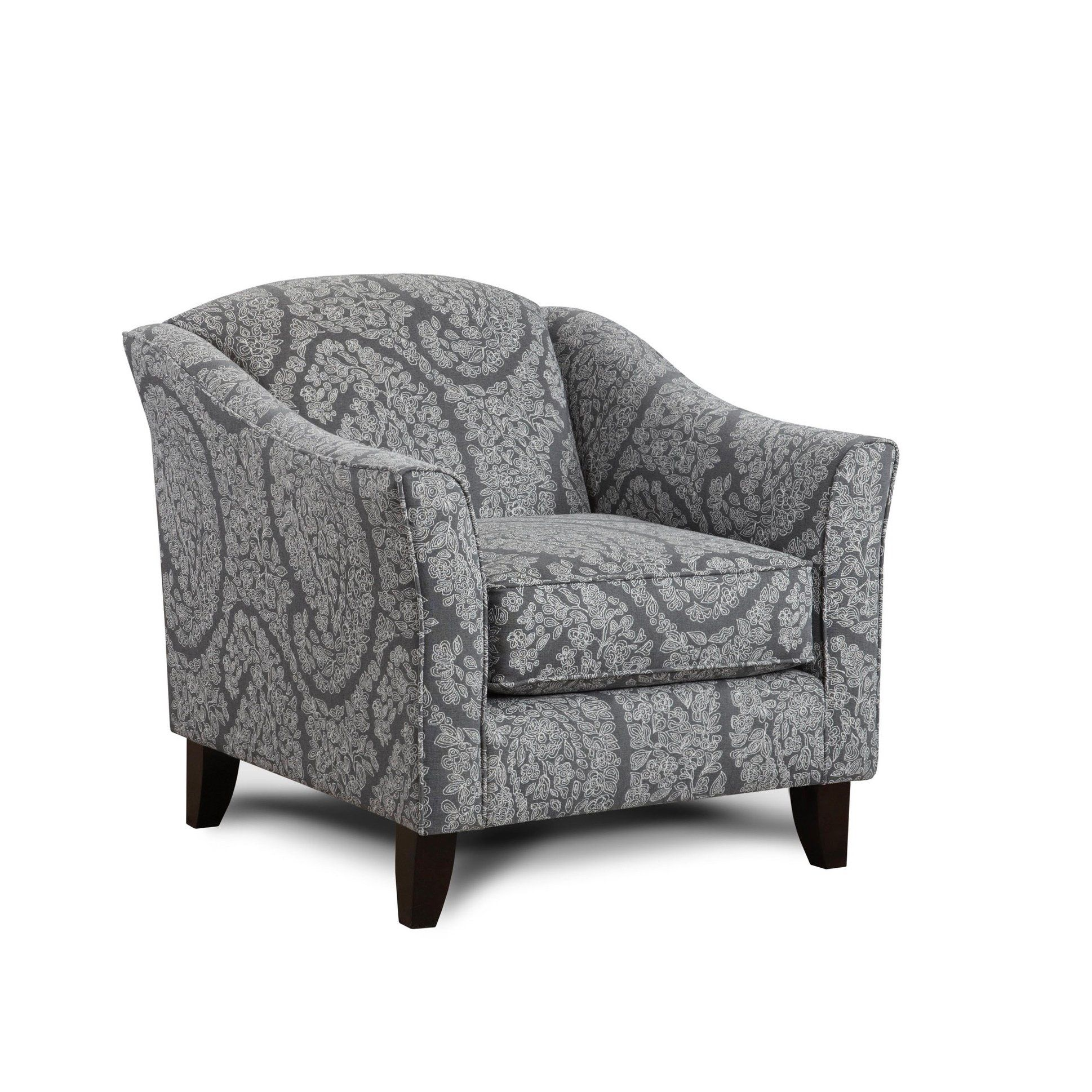 Ella Pewter Grey Tensil Accent Chair Gray Polyester Blend