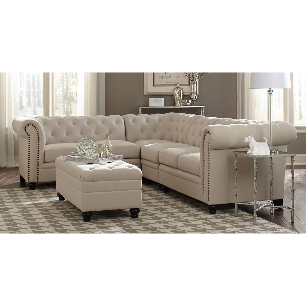 Coaster Traditional Roy Oatmeal Linen Blend Fabric Nailhead Trim Sectional Sofa And Ottoman