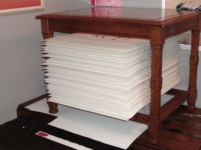 Diy Paper Drying Rack In Use