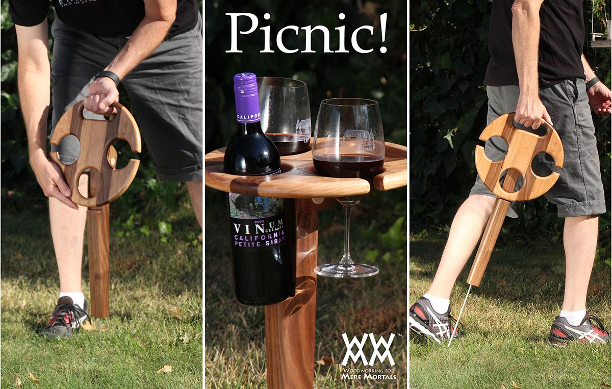 Folding Wine Table For Picnics Woodworking For Mere Mortals Woodworking Projects For Kids Learn Woodworking Easy Woodworking Projects