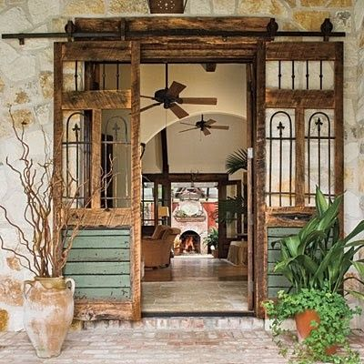 Warm Wood Stone Ceiling Fans Distressed Spanish Entry Way Love The