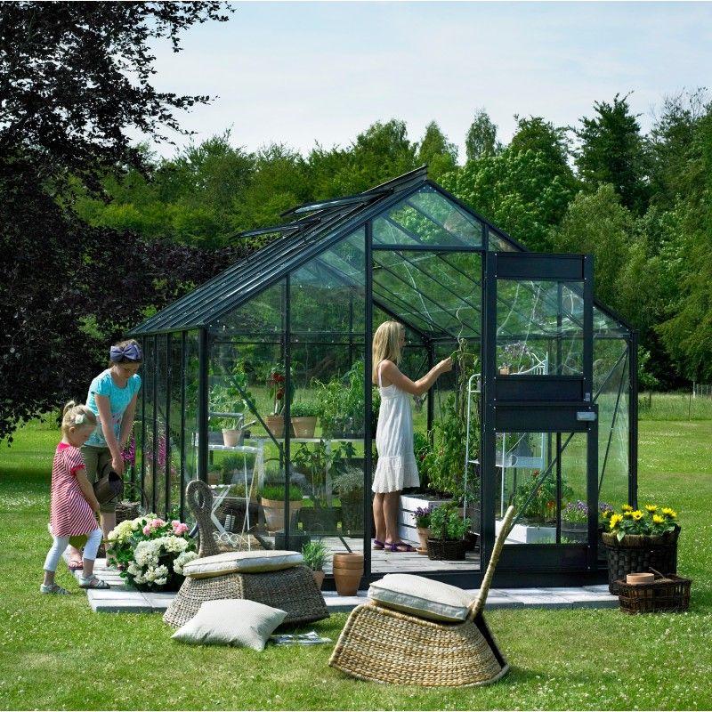 Serre jardin 9,9m² anthracite verre horticole Compact Plus ...