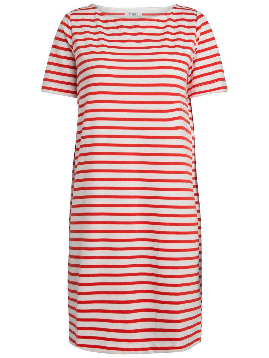 1dcbbdc6ae1 Gestreepte jurk | Loose fit | Medium lengte | Korte mouwen | Ronde hals |  maat