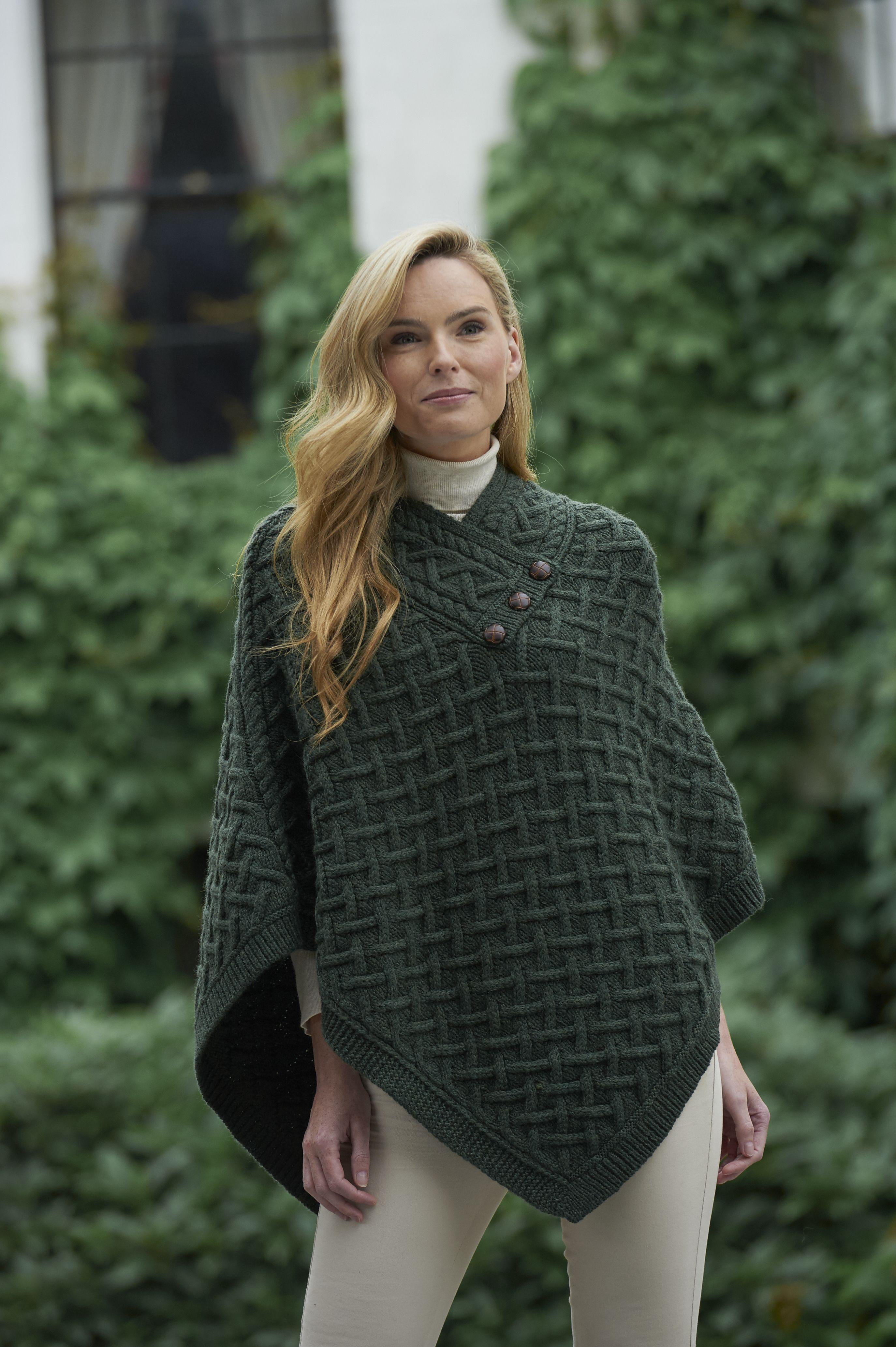 Shawl Neck Aran knitted Poncho by Natallia Kulikouskaya ...