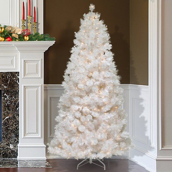 8a169e4bf325 You'll love the 7.5' White Grande Slim Artificial Christmas Tree with 500  Pre-Lit Clear Lights with Stand at Wayfair - Great Deals on all Décor &  Pillows ...
