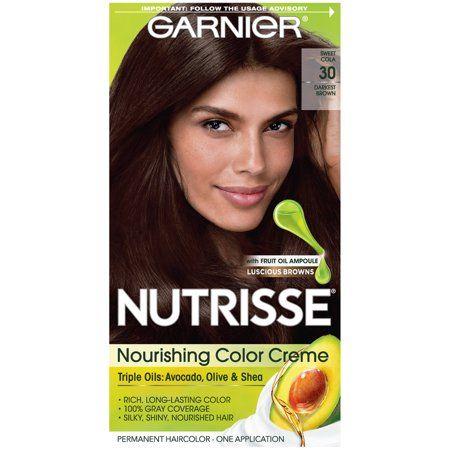 Garnier Nutrisse Nourishing Color Creme 30 Darkest Brown 1 Pack Hair Color Nourishing Hair Hair Color Hair Color For Black Hair