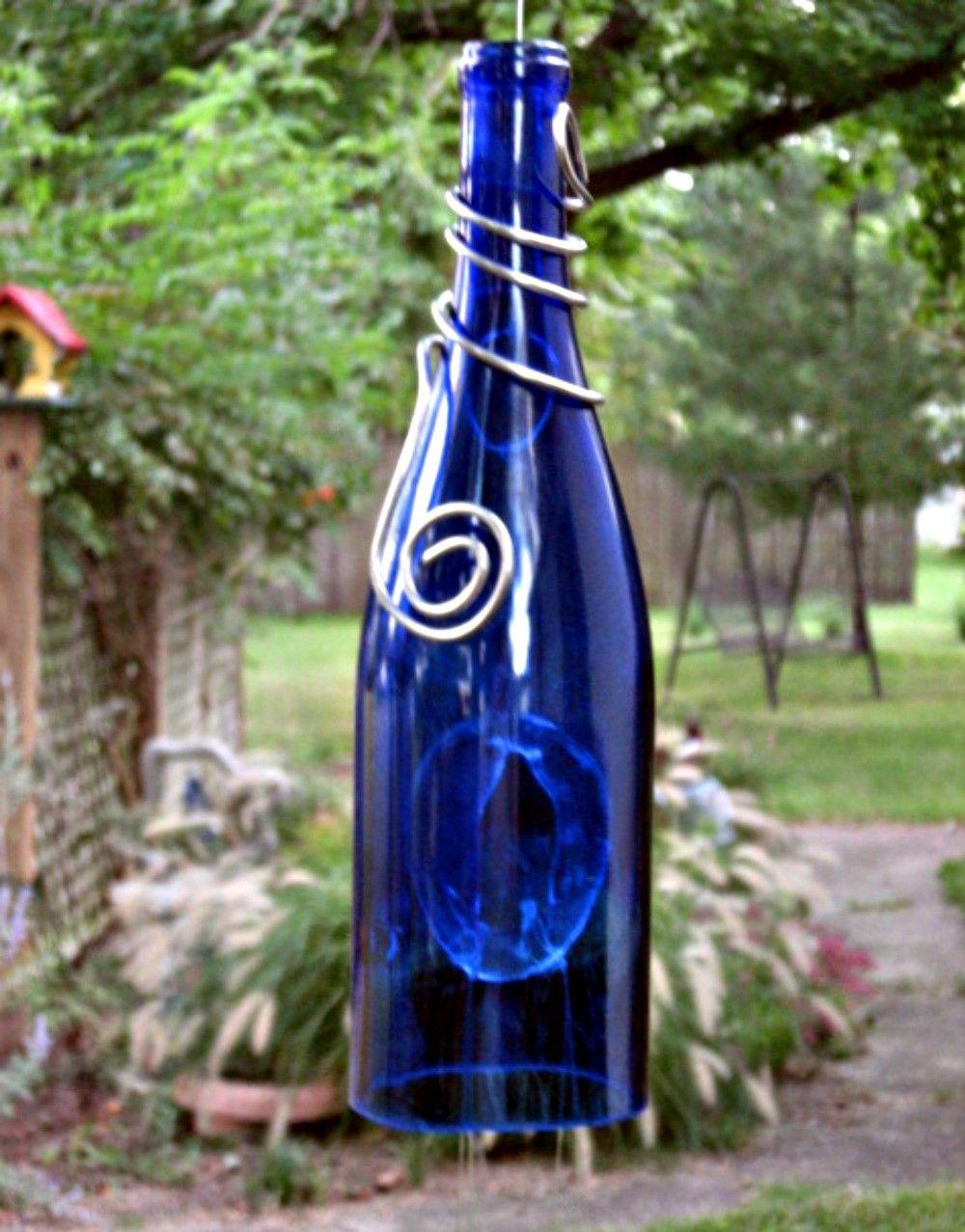 Blue wine bottle wind chime recycled wind chimes bottle for Glass bottle wind chimes
