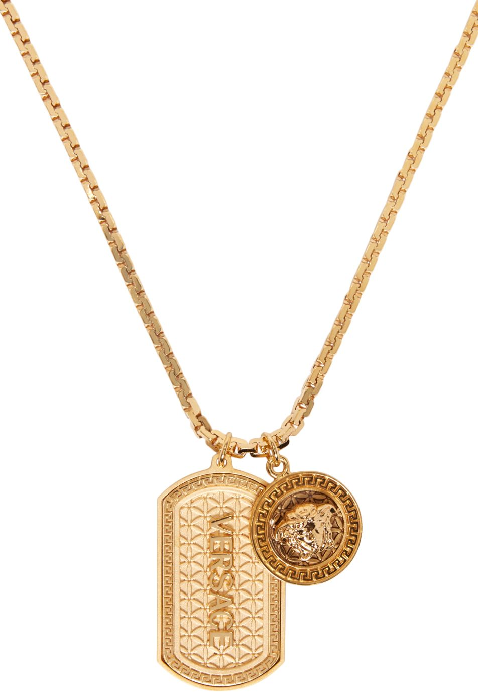 Versace Gold Dog Tag Necklace SSENSE Jewelry Pinterest