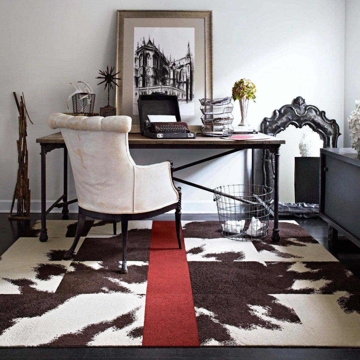 Flor mod cow brown installation layout and images pinterest buy mod cow brown carpet tile by flor to go under our bed minus the red stripe dailygadgetfo Images