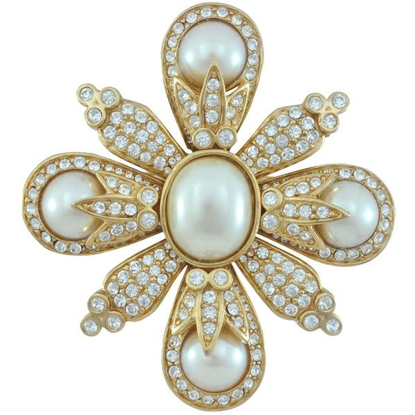 Ciner Pearl Crystal Brooch (€310) ❤ liked on Polyvore featuring jewelry, brooches, brooch, accessories, pin, pearl brooch, swarovski crystal brooch, pin jewelry, 18 karat gold jewelry and swarovski crystal jewellery