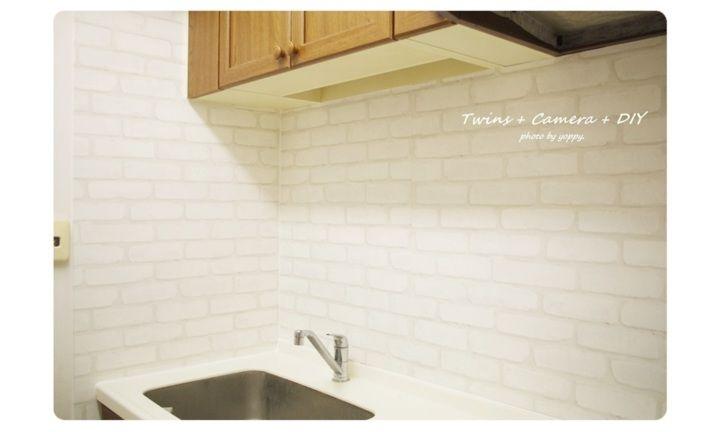 キッチンdiy タイル壁をレンガ風に キッチン Diy タイル