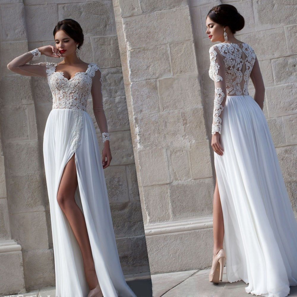 Sexy lace long chiffon evening formal party cocktail dress