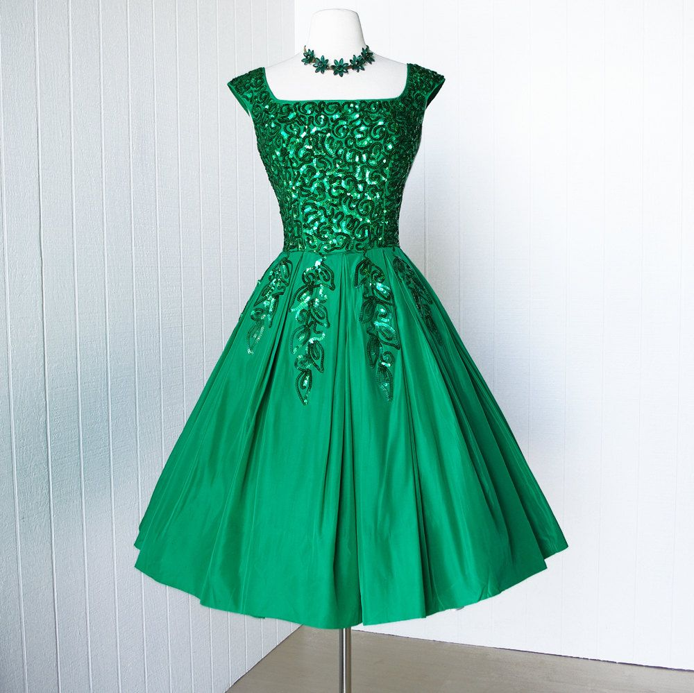 vintage 1950's dress... gorgeous EMMA DOMB emerald green sequin ...