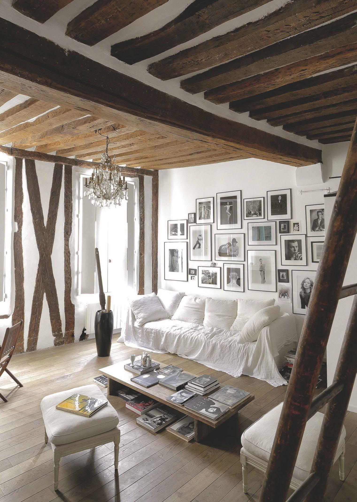 Appartement Marais avec poutres apparentes  Décoration maison