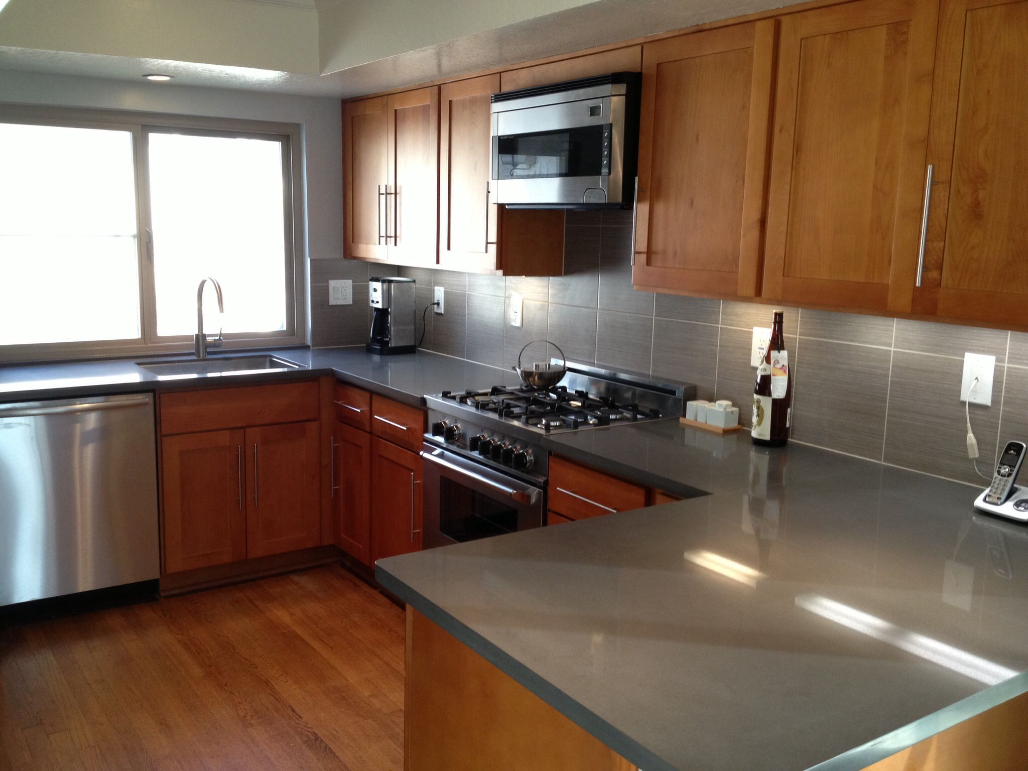 Kitchen in Belmont Ca. Maple shaker cabinets, cliff grey ... on Maple Kitchen Cabinets With Quartz Countertops  id=88289