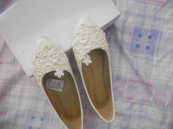 Custom Women Wedding Shoes White Lace Ivory by StarsShineNewWorld