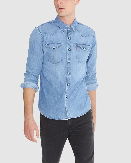 b2e0f21025 Camisa vaquera de hombre lisa azul Western Shirts