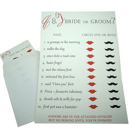 Fully Personalised Wedding Bride Groom Quiz Trivia For Your Guests