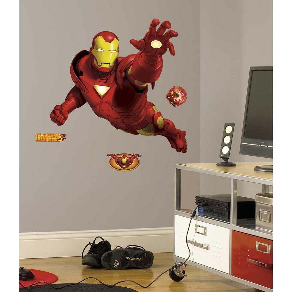 New giant iron man wall decals boys ironman bedroom stickers marvel heroes decor ebay