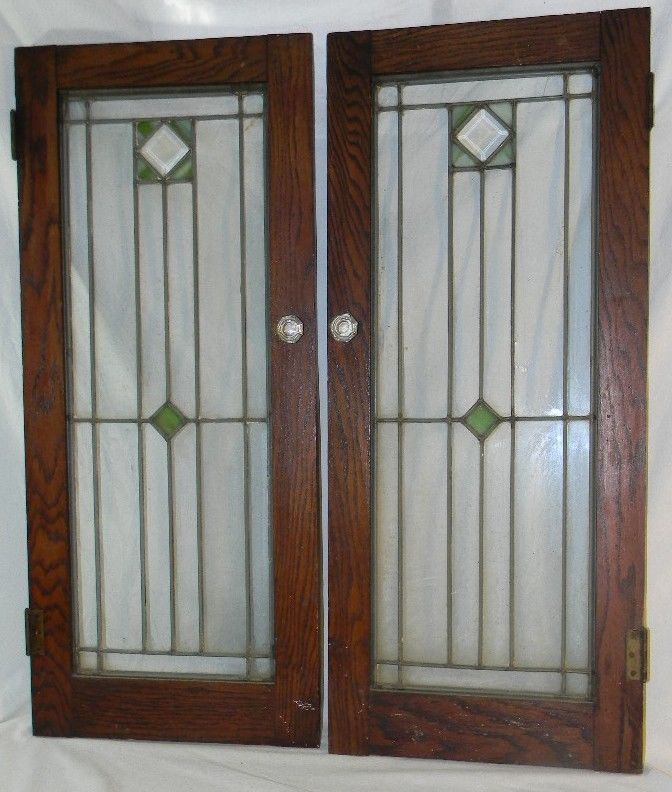 2 Antique Oak Stained Leaded Glass Cabinet Bookcase Doors ...