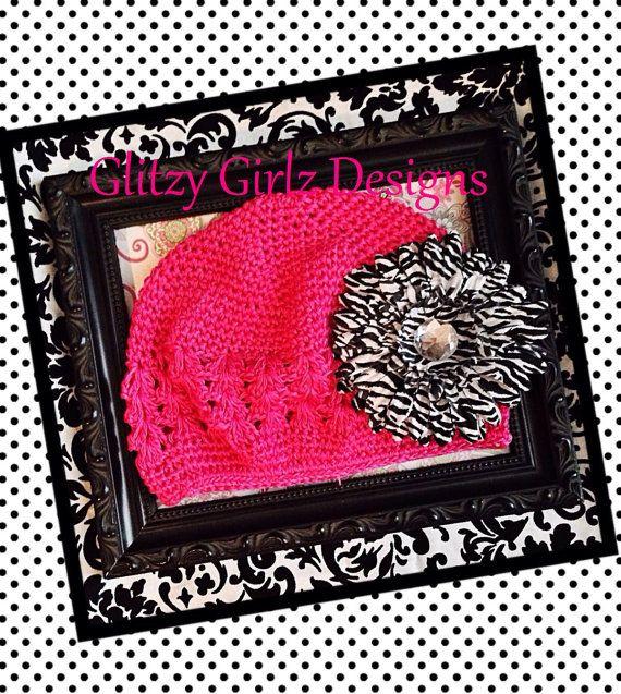 Stylish diva spring hot pink crochet beanie and zebra flower clip/ hat girls/teen/tweens beanie hat/photo op on Etsy, $12.99