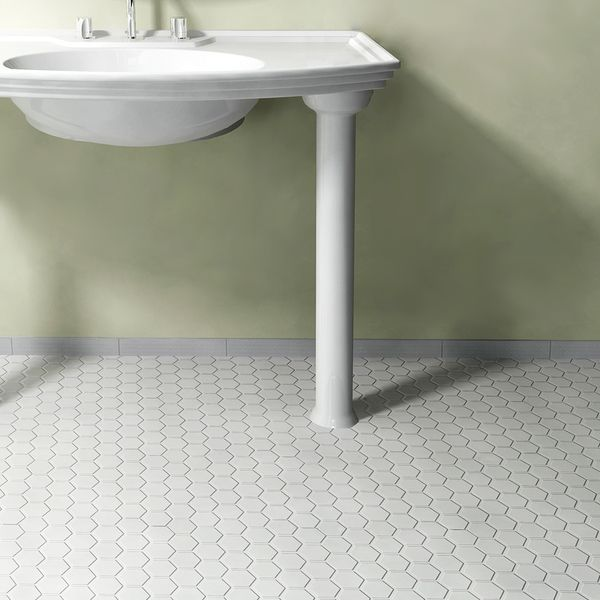 Somertile 10 5x11 Inch Victorian Hex Glossy White Porcelain Mosaic Floor And Wall Tile