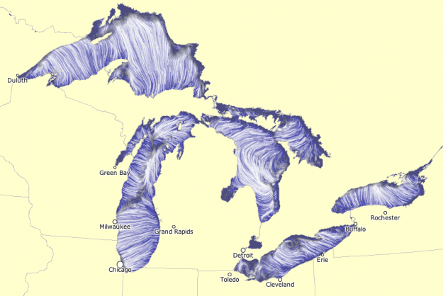Currents In The Great Lakes Water Flow As Modeled By Noaa Even Cooler Is The Animated Map Great Lakes Lake Lake Water