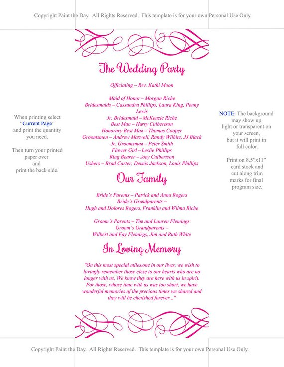 DIY Wedding Program Template Deep Pink Ceremony Program Whimsical