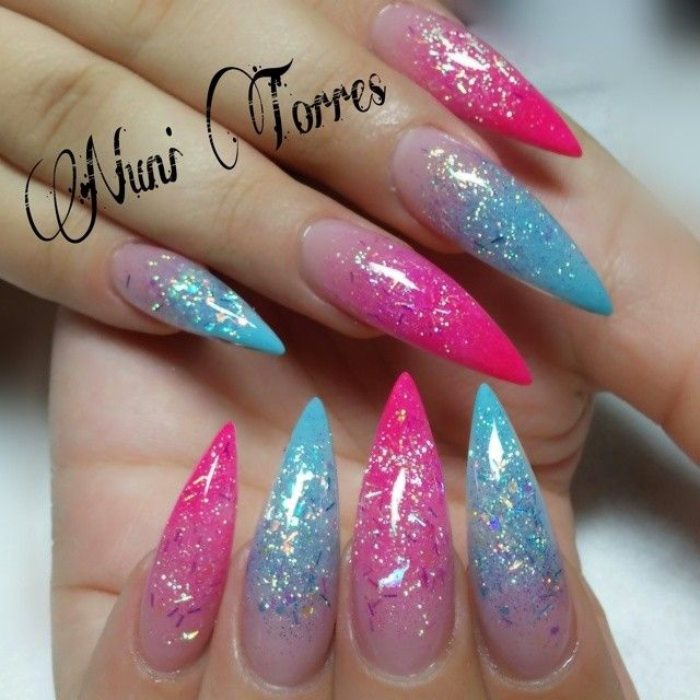 Pink and blue sparkle I Created this look with My mix collection ...