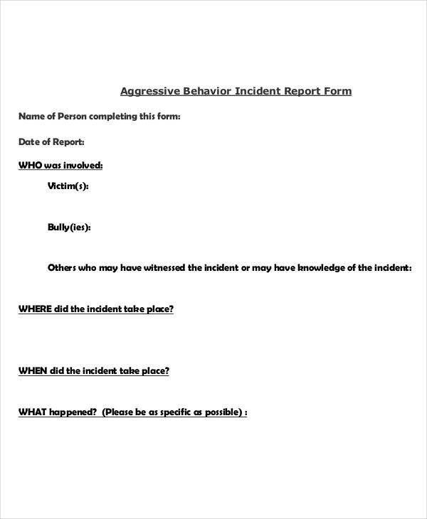 Behavior incident report templates 8 free pdf format download