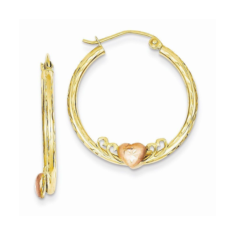 K u rose rhodium heart dc hoop earrings products pinterest
