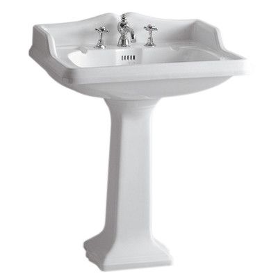 Vitreous China Rectangular Pedestal Bathroom Sink With