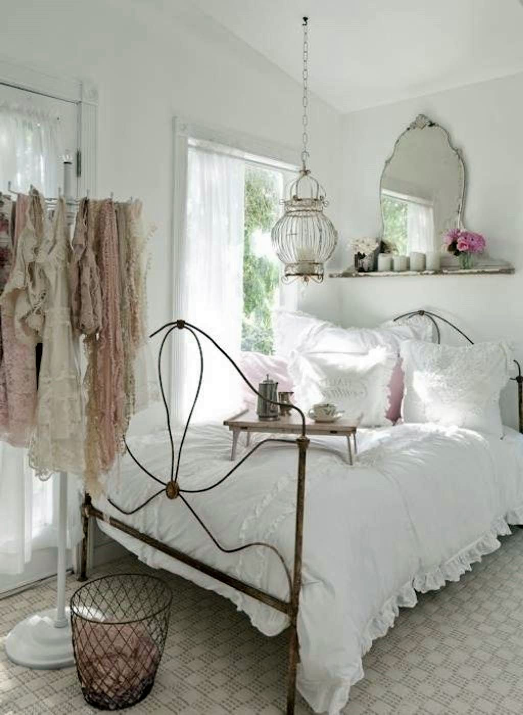 Beautiful Shabby Chic Bedroom Decorating Idea In White Theme With Rustic Bed  Frame Design And White Bedding Set With Ruffle Accent Also Unique Mirror  And ...