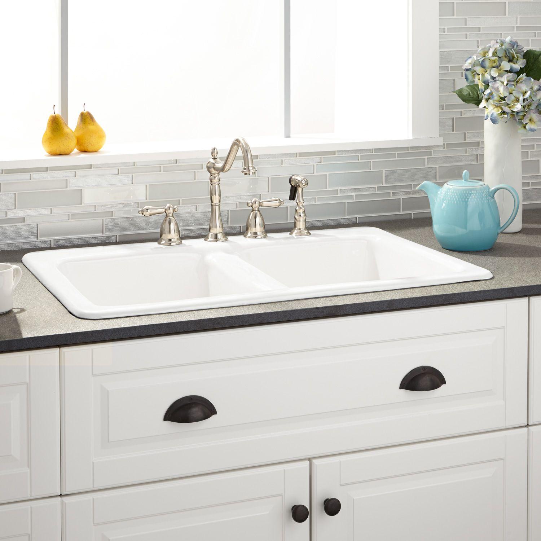 33 Gostyn Double Bowl Cast Iron Drop In Kitchen Sink In White