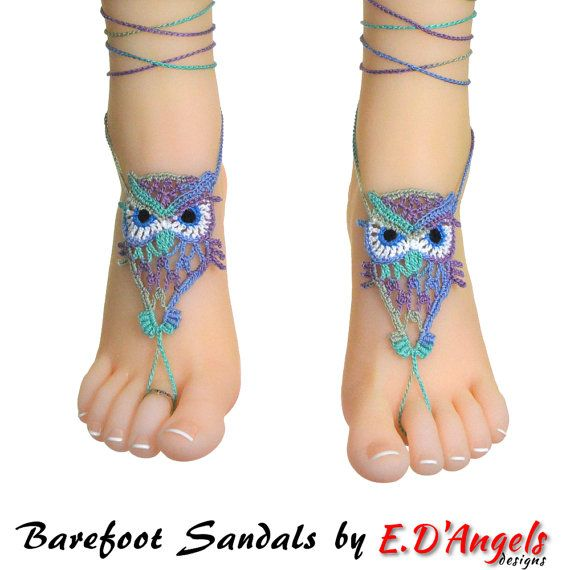 Barefoot sandals crochet pattern summer fashion por LassCrochet ...