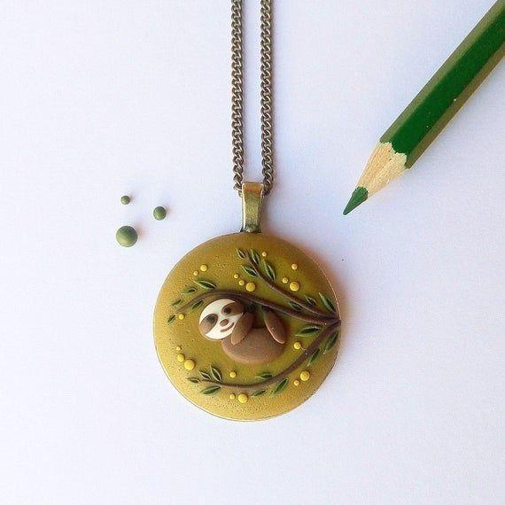 Cute Sloth necklace, Cute sloth pendant, Sloth jewelry, Sloth gift #cutesloth Cute Sloth necklace, Cute sloth pendant, Sloth jewelry, Sloth gift #cutesloth