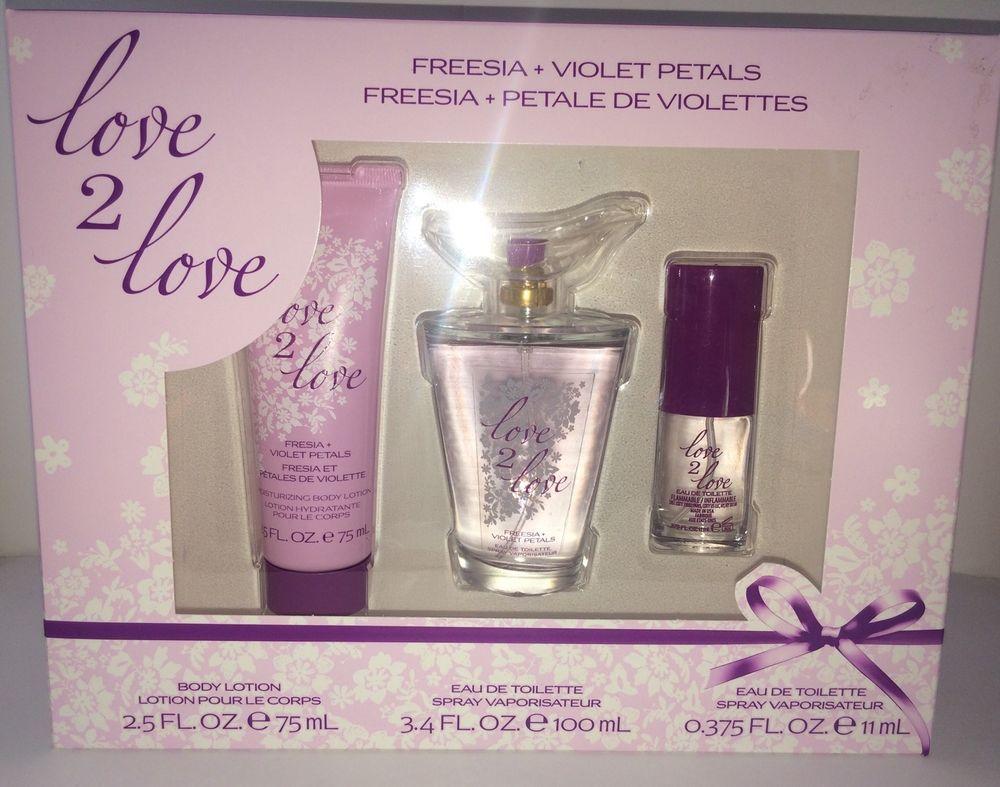 825672e6fe3 Coty Love 2 Love Fragrance Gift Set Freesia Violet Perfume New 3 Piece