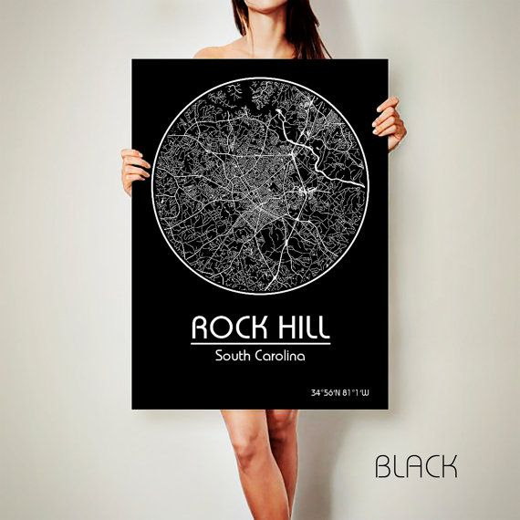 Rock Hill South Carolina Canvas Map Rock Hill South By Archtravel Poster City Oklahoma Art Print Map Art