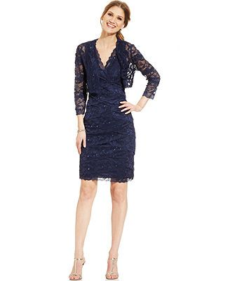 Marina Petite Sequin Lace Tiered Dress and Jacket